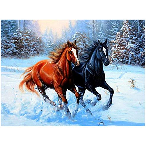 Vanzelu 5D-strass-steentjes, om zelf te maken, om zelf te maken, met twee paarden, motief: Dieren, kruissteek, met strass-steentjes, cadeau-idee van de moeder 40x50cm