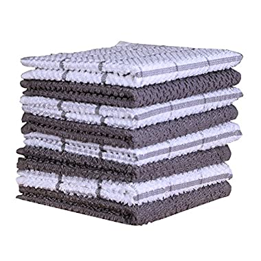 Terry Cotton Dishcloth Set of 8 ( 12 x 12 Inches ) , Light Gray , 100 % Cotton , Highly Absorbent Kitchen Dish Cloths , Machine Washable By CASA DECORS