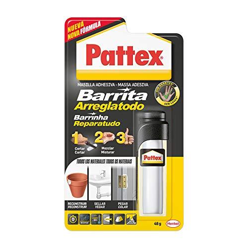 Pattex Barrita Arreglatodo Masilla bicomponente extrafuerte, pasta moldeable para pegar y reparar, resina epoxi barnizable y lijable para múltiples materiales, tubo 48 g