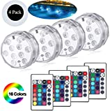 Luces Sumergibles Led, Luces Subacuáticas Impermeables, Paquete De 4 Luces Led Sumergibles Con Control Remoto Rgb Multicolor Led Pond Lighting Set