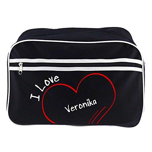 Retro bolso bandolera I Love verónica colour negro