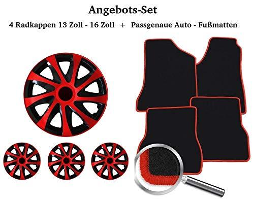 Auto-Fußmatten Set Schwarz-Rot inklusive 4 Stück Radkappen 13