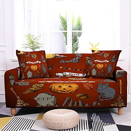 WXQY Funda de sofá Antideslizante elástica de Halloween con patrón de murciélago de Calabaza elástica Funda Protectora de Muebles a Prueba de Polvo A2 3 plazas