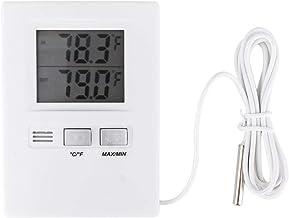 CHICIRIS Termómetro Digital, LCD de Alta precisión Termómetro Digital para Interiores y Exteriores Medidor de Temperatura Probador con batería (Blanco)