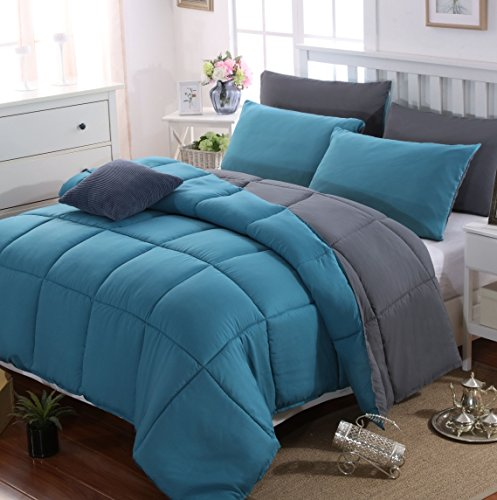 AYSW Duvet Double Comforter Warm and Anti Allergy All Season Grey and Teal NO Pillowcases Only Quilt 10.5 Tog Duvet