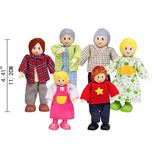 """Happy Family Dollhouse Set by Hape  Award Winning Doll Family Set, Unique Accessory for Kid's Wooden Dolls House, Imaginative Play Toy, 6 Family Figures, Adults 4.3"""" and Kids 3.5"""", Multicolor"""