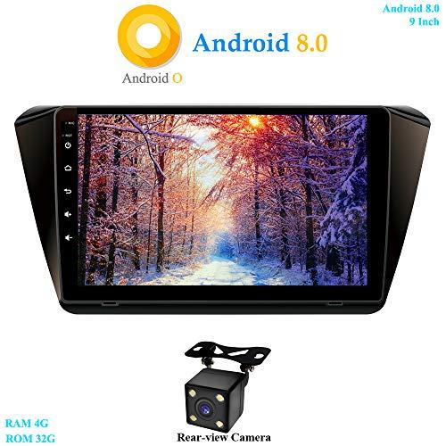 XISEDO 9 Pouces Écran Tactile Android 8.0 Autoradio in-Dash Voiture Radio 8-Core RAM 4G ROM 32G Autoradio pour Superb (2015-2016) Soutien Commande au Volant, WiFi, Bluetooth (avec Caméra de Recul)