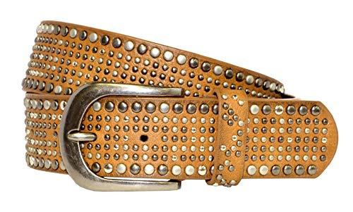 Fashion Damen Gürtel - Vintage Gürtel - Teilleder Nietengürtel in 15 Farben - Ocker Länge 95 cm