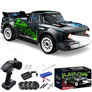 Fisca 1/16 Remote Control High Speed Car 4WD RC Drifting Racing Cars Fast 20MPH Truck 2.4Ghz Off-Road 4X4 Buggy Car Speed & Steering Control Vehicle Toy with Lights for Kids and Adults