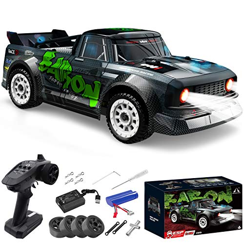 Fisca 1/16 Remote Control High Speed Car, 4WD RC Drifting Racing Cars Fast 20MPH Truck 2.4Ghz Off-Road 4X4 Buggy Car Speed & Steering Control Vehicle Toy with Lights for Kids and Adults