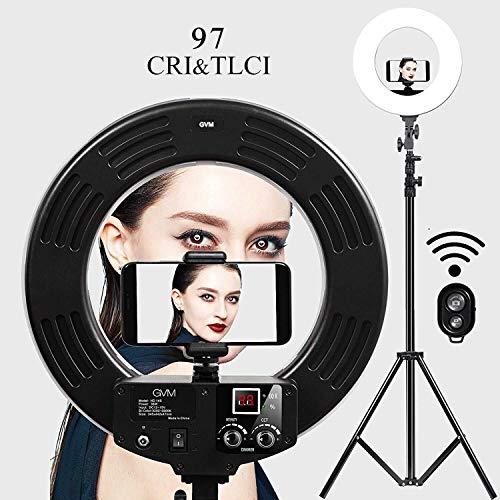 GVM 18 Zoll LED Ringlicht, 55W LED Ringleuchte mit Lampenstativ and Bluetooth,Dimmbar 3200-5600K Live LED Ring für Titok Vlog YouTube Make up Porträt, Vlog,Selfie Video Fotografie Beleuchtung