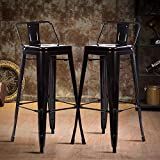 Counter Bar Stools Industrial Set of 2 Cafe Farmhouse Bistro Metal Chairs with Back Stackable Tolix-Style Modern Barstools 30 Inch for Indoor Outdoor Kitchen Counter Patio Work Pub Trattoria (Black)
