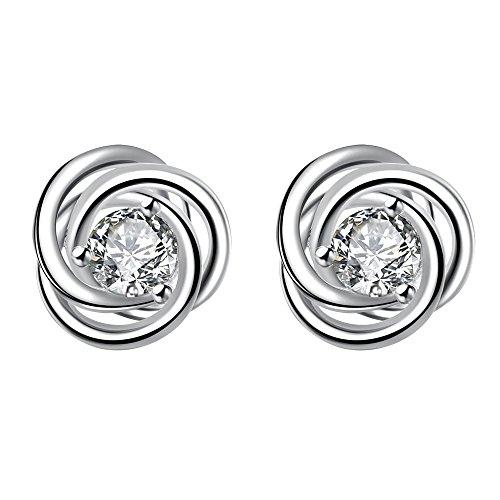 1 Coppia Hanessa Damen-gioielli Edle Ohrringe Versilbert Spiral-Form Kristall-Stein silber