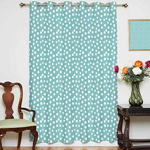 Turquoise Sliding Door Curtain Retro Vintage 60s 50s Inspired Geometric Polka Dots Romantic Art Print Thermal Backing Sliding Glass Door Drape,Single Panel 63x84 inch,for Glass Door White and Light