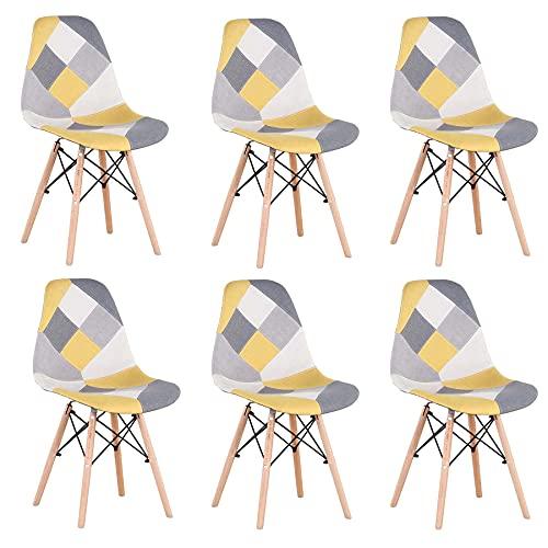 GrandCA HOME Pack de 4 sillas Sillas de Retazos Multicolores en Tela de Lino Sillas de Sala de Estar de Ocio Sillas de Comedor con Respaldo de cojín Suave (Yellow-6)