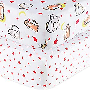 Handywa – 100% Cotton 2 Pack Fitted Crib Sheets Set for Baby and Toddler Bed Mattresses – Cats and Red Stars Print for Boy or Girl Nursery