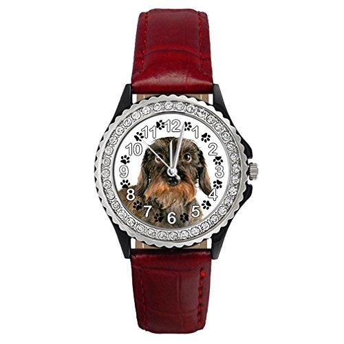 Timest - Perro Tejonero - Reloj del Cuero Rojo para Mjer con piedrecillas Analógico Cuarzo CSG0107r