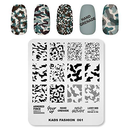 Plaques d'estampage Nail Art Modèle d'image Motif de camouflage Vache Texture Graphismes Conception de motifs d'Alphabet DIY Imprimer Manucure Nail Art Outils de pochoir