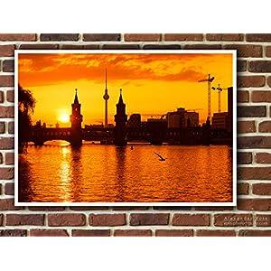 Fine Art Print auf LKW-Plane, Berlin – Oberbaumbrücke Sunset, 100 x 70cm