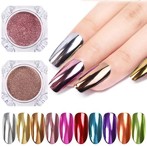 RSS Nail Spiegel Glitter Puder Metallic-Farben-Nagel-Kunst-UVgel Polieren Chrom Flakes Pigment Staub Dekorationen (Color : 02)