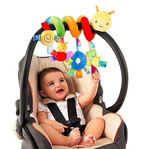 Herbests Juguete de Cochecito en Espiral, Cochecito o Cuna Juguete para Colgar Móvil para Bebés Niños Twisty Espiral Cama Juguetes de Peluche Actividad Educativa Juguete Asiento de Coche para Bebé