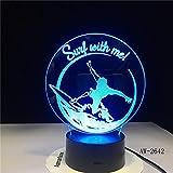 Gradientes 3D USB Lámpara de mesa LED para iluminación de dormitorio Lámpara de mesita de noche de acrílico para decoración de noche de noche Regalo para niños