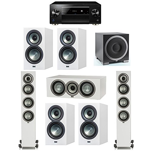 For Sale! ELAC Uni-Fi Slim White 7.1 System with 2 FS-U5 Floorstanding Speakers, 1 CC-U5 Center Spea...