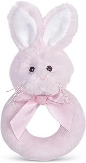 Bearington Baby Lil' Bunny Pink Plush Stuffed Animal Soft Ring Rattle, 5.5