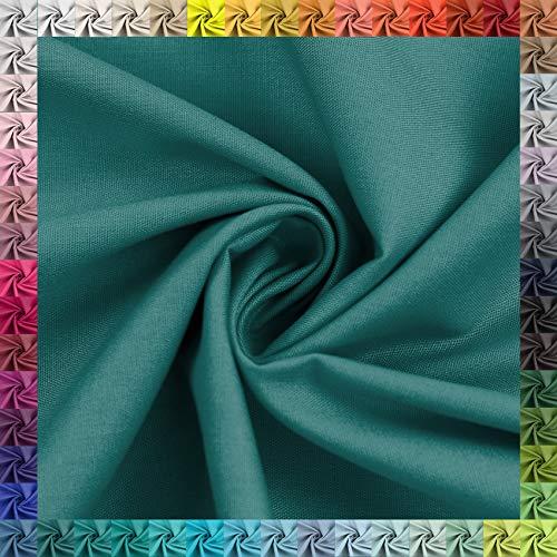Baumwollstoff Uni 100% Baumwolle Oeko-Tex Meterware über 50 Farben zur Auswahl (062 Petrol, 200 x 148cm)