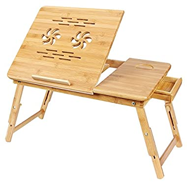 SONGMICS ULLD001 Bamboo Laptop Desk Serving Bed Tray Breakfast Table Tilting Top with Drawer