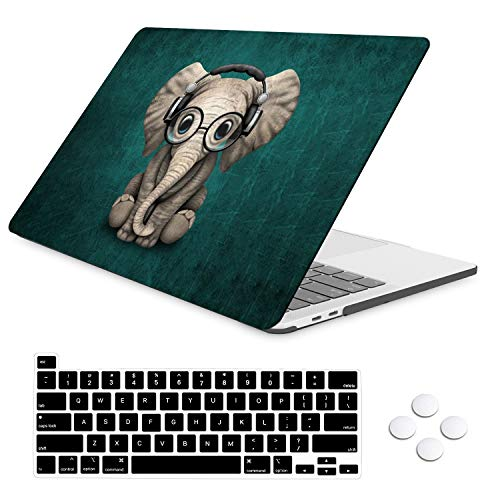 iLeadon MacBook Pro 13 inchs Case Release Model A2338 M1/A2251/A2289, Plastic Hard Shell Case with Keyboard Cover Compatible for New MacBook Pro 13 2020 with Touch Bar Fits Touch ID, Cute Elephant