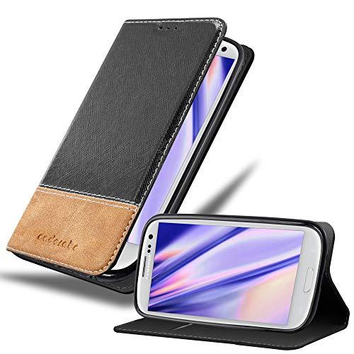 Cadorabo Hülle für Samsung Galaxy S3 / S3 NEO in SCHWARZ BRAUN – Handyhülle mit Magnetverschluss, Standfunktion & Kartenfach – Hülle Cover Schutzhülle Etui Tasche Book Klapp Style
