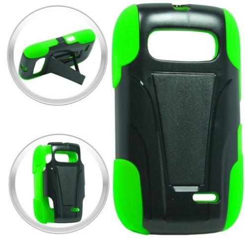 FastSun T -Stand Hybrid Armor Case Phone Cover Accessory for ZTE Z432 Altair 2 Z434 (Black-Green)