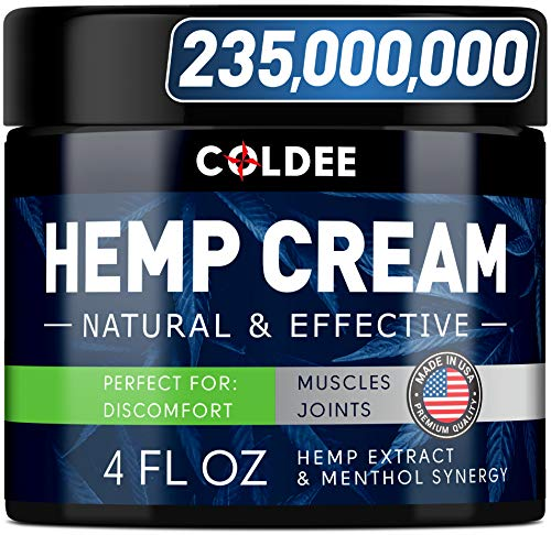 Coldee Hemp Cream 4 fl oz - Made in USA - All-Natural Hemp Extract Cream - Soothes Discomfort in Knee, Joint & Back - Max Strength & Efficiency