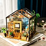 Rolife Dollhouse DIY Miniature Room Kit-Handmade Green House-Home Decoration-Miniature Model to Build-Christmas Birthday… 8 【Exquisite Mini House and Eco-Friendly Materials】Our diy mini doll house is very well made, using a miniature scale of about 1:24. All pieces are in seperate bags and a colourful step by step instruction book is included, which is a joy to read and very clear.The materials in the kit are eco-friendly, have no burrs.The paint is odorless and can also be easily washed out by water 【DIY Model Kits and A Handmade Toy】This wood model kits will make you fall in love with arts and crafts and become fulfilled. Inside the furniture suite are easy to stitching, Even if you are a beginner, follow the steps to do it will not be too hard. You can give yourself a plan, spend two hours a day to assemble, stick to it, not only develop good habits, but also make a surprise toy house 【Be Patience and Feel Amazing】To build it, patience is the ultimate key to success.It can be assembled with family, friends and lovers to experience the pleasure of hands-on.A sense of accomplishment will come when it is finished.You can redecorate it and add in your new creation.After turning on the light, it makes a comfy, cute room to look at once and awhile
