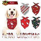 4 pañuelos de Navidad para Perro, Baberos para Mascotas Plaid Reversible y Baberos Lavables de triángulo Bufanda, para Bandanas de Perro Pañuelo de Mascotas de Acción - Estilo Papá Noel y Reno