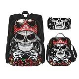 Guns'N-Roses-Skull (2) Mochila de viaje para acampar juvenil, mochila escolar de 3 piezas, bolsa escolar+bolsa de almuerzo combinación