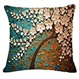 Fossrn Fundas de Cojines Almohada Vintage Floral Hojas Árboles Funda de Cojines para Sofa Jardin Cama Decorativo - 45x45 cm (01)