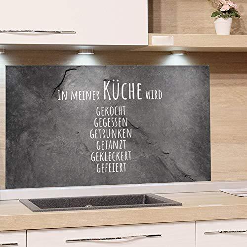 GRAZDesign Spritzschutz Küche Glas Steinoptik, Wandpaneele Küche lustiger Spruch, Fliesenspiegel Küche Granitoptik, Küchenrückwand Glas Familienspruch / 60x40cm
