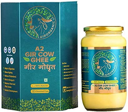 100 Organic Grass fed Ghee Butter from GirOrganic 32 Oz glass jar of Premium quality A2 Gir product image