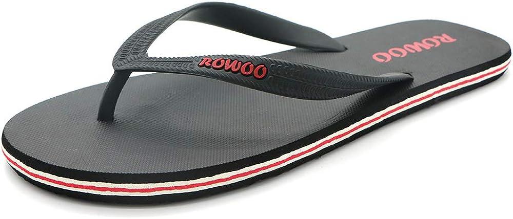 ROWOO Men's Beach Flat Rubber Sandals Flip Flops (US7/40EU, Black)