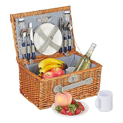 Relaxdays Picknickkorb für 4 Personen, Picknickkoffer gefüllt, 23-teiliges Picknick Set, Weidenkorb mit Henkel, Natur