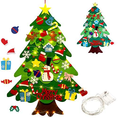 outgeek Filz Weihnachtsbaum, 3.2ft DIY Weihnachten hängenden Baum Set mit 50 LED-Leuchten 32 Stück Ornamente Weihnachtsbaum für Kinder Home Tür Wanddekoration