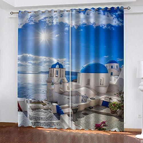 BWBJJ Cortinas Opacas 3D Mar Egeo Azul 2 Paneles Cortinas De Salon En Poliéster para Habitacion Dormitorio Cocina Decoración del Hogar Moderno 70x180 cm x 2 Panel