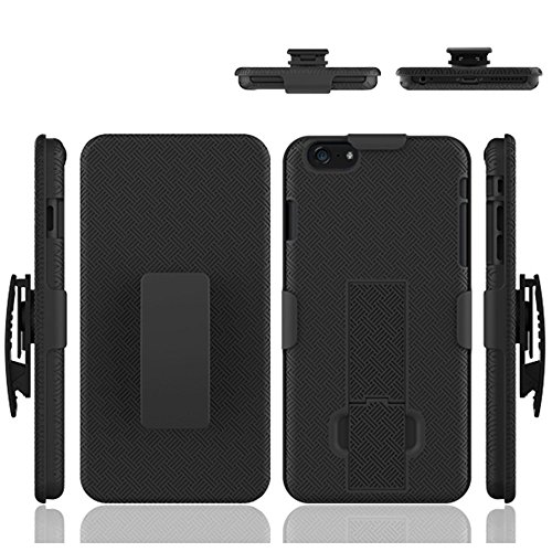 iPhone 6S Plus/6 Plus Case, HLCT Combo Slim Shell Holster Case w/Built-in Stand Kickstand + Swivel Belt Clip Holster for Apple iPhone 6S Plus/6 Plus (Black)