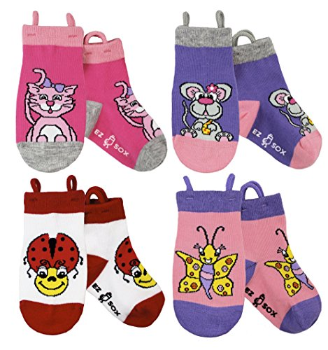 Ez Sox Chaussettes filles, avec Easy Pull Loops, 3-5 ans, Kitty/Mouse/Ladybug/Butterfly