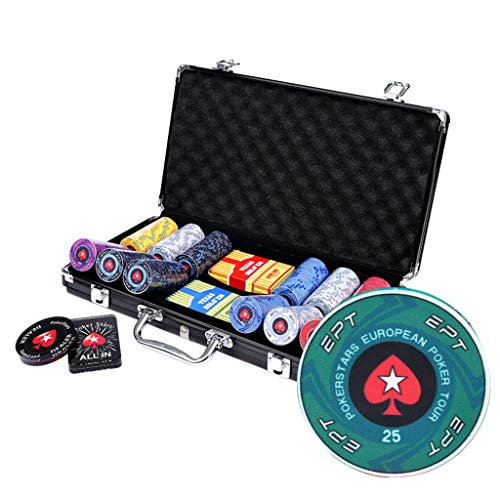 HOUSEHOLD Set de póker Caja de Aluminio Negra,200/300 fichas de póker, botón de repartidor,Juego Set de Poker Casino Aluminio