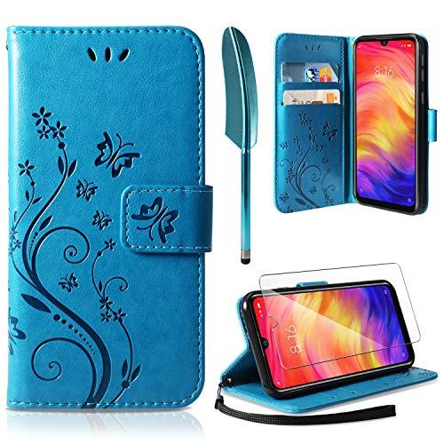 AROYI Funda Xiaomi Redmi Note 7, Funda Piel PU Xiaomi Redmi Note 7 Pro Soporte Plegable Ranuras para Tarjetas Magnético Ultra-Delgado Carcasa para Xiaomi Redmi Note 7 Azul