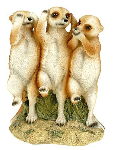 Kremers Schatzkiste Erdmännchen Nichts hören sehen Sagen Figur Gartenfigur 19 cm Meercat Tierfigur