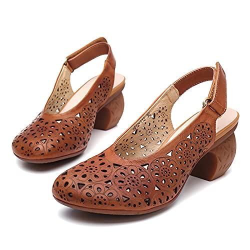 JXILY Zapatos De Mujer, Sandalias De Cuero, Velcro Tallado Tacones, Estilo Étnico Retro, Gran Tamaño, Primavera Y Verano Antideslizantes,Yellow Brown,40